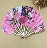 Pink 30Pcs/Lot Personalized Chinese Japanese Folding Hand Fan Fabric Floral Wedding Party Supplies