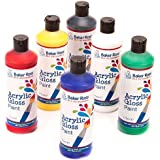 Baker Ross Acrylic Paint (Pack of 6 175ml Bottles) Includes Red, Yellow, Royal Blue, Green, White & Black For Kids To Decorate, Arts and Crafts