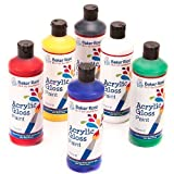 Acrylic Paint (Pack A - Red, Yellow, Royal Blue, Green, White & Black) 175ml of 6 Assorted Colours Water-Based Paint for Children's Painting & Crafts- Pack of 6