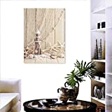 "Fishing Net Decor Wall Art Canvas Prints Marine Theme Sea Stars and Shells Underwater Life Wooden Lighthouse Ready to Hang for Home Decorations Wall Decor 16""x24"" Beige Cream"