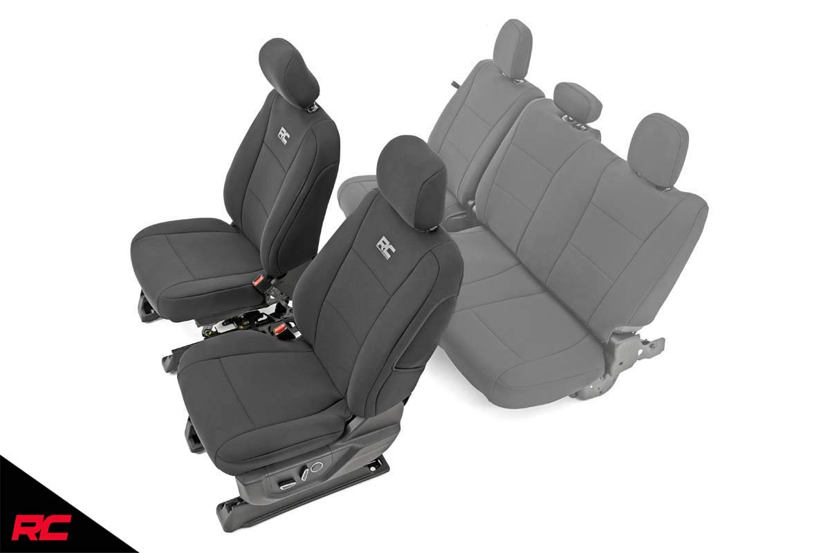 Water Resistant Rough Country 91016 Neoprene Seat Covers Black Front | 1st Row 2015-2020 F150 fits