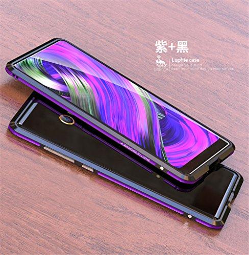 Xiaomi Mi Mix2 Bumper(5.99inch),DAYJOY Luxury Sword Design Dual Color Premium Aluminum Metal Shockproof Bumper Frame Case for Xiaomi Mi Mix 2 (Black Purple) ()