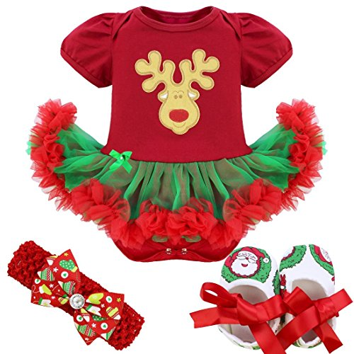 FEESHOW 4Pcs Infant Baby Girls Santa Claus/Christmas Tree Romper Outfits Costume Red Christmas Reindeer 0-3 (Reindeer Baby Costume)