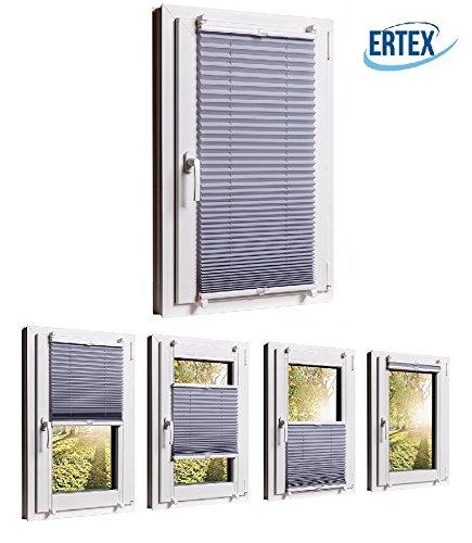 Plissee Klemmfix jalousie ohne bohren verdunkelung Faltrollo Vorhang 3 Farben, Größen Wählbar (Grau 45 X 130 cm) - ERTEX - Sonnenschutzrollo für Fenster Tür, Fensterrollo, Gardinen