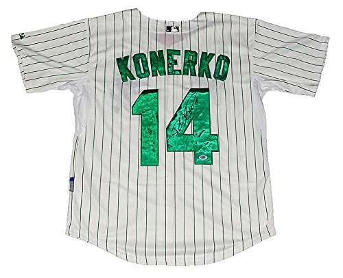 """'AUTOGRAPHED 2016 Paul Konerko #14 Chicago White Sox Baseball ST. PATRICK""""S DAY Signed Majestic Coolbase Authentic Collection (Size 52) MLB Green Jersey with PSA COA '"""