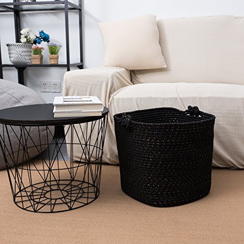 Cotton Rope Storage Basket With Handles Soft Durable Toy Storage Nursery Bins Home Decorations (Black Gold) by Magic Solutions