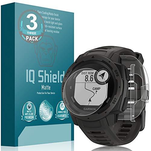 Garmin Instinct Screen Protector [3-Pack], IQ Shield Matte Full Coverage Anti-Glare Screen Protector + Full Body Skin for Garmin Instinct Bubble-Free Film