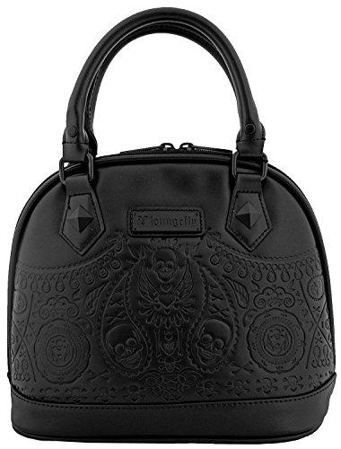 loungefly-matte-black-bandana-sugar-skull-dome-bag