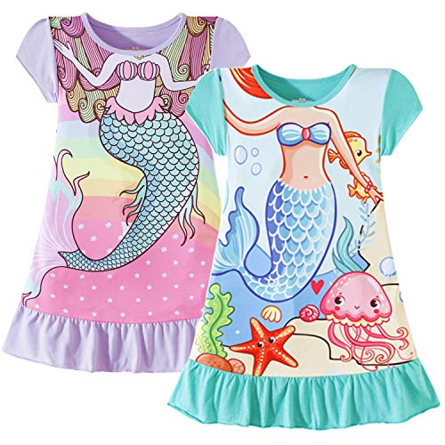 - Nightgowns for Girls Mermaid Princess Dress Toddler Kids Pajamas Night Gown(2-Pack,5-6 Years)