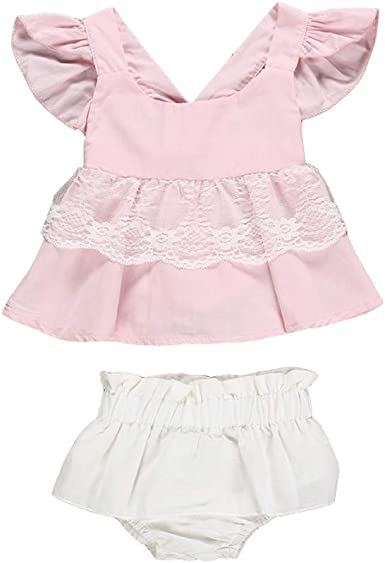 US Infant Baby Girls Lace Clothes Off Shoulder Romper Headband Summer Outfit Set