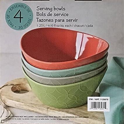 Over And Back Porcelain Serving Bowls, 1.1823 L, Set of 4, 4 colors ...