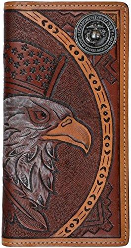 Hand Tooled Leather Wallet (Custom American Spirit U S Marines hand-tooled leather)
