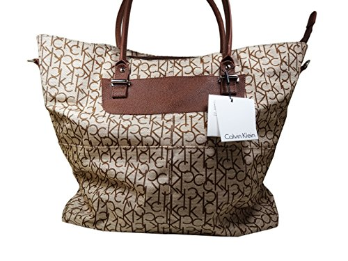 Calvin Klein Brown Tan Luggage Tote Bag by Calvin Klein