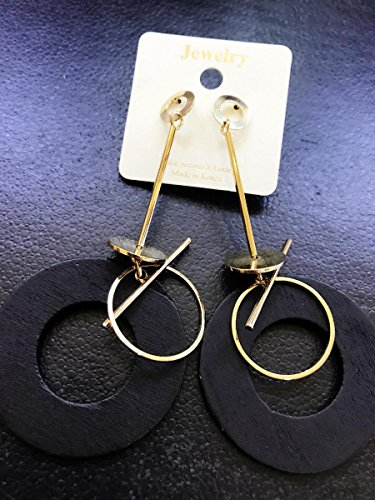 (usongs Genuine long paragraph fashion geometric black wood earrings boast Zhang Daqi earrings earrings)