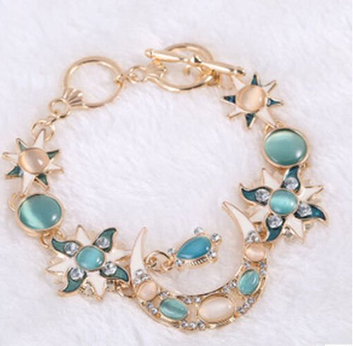 ERAWAN Fashion Sun Moon Star Gold Asymmetry Chain Jewelry Bangle Bracelet Wristband EW sakcharn