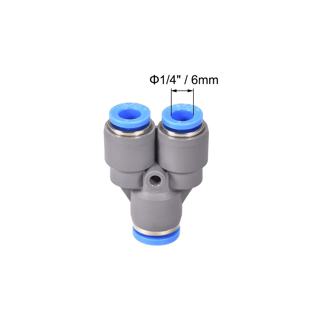 uxcell Push to Connect Air Fittings Y Type Tube Connect 8-6mm OD Push Lock Grey 5Pcs