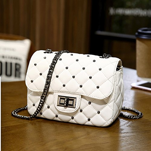 Pequeña Handbag Bag De Chain La Version Coreana De Small Lingge Handbag Bolso Rivet Messenger Of Korean Versión Bag Mini Messenger White A color White Mini Nueva New Lingge Blanco color Blanco Hombro La A Bag Bolsa The Cadena Bag Shoulder Rivet Bag Bag 1wYU1ITq