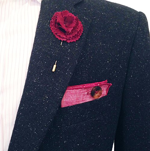 Maroon Linen with Brown Horn Button Men's Pocket Square by The Detailed Male by The Detailed Male (Image #5)