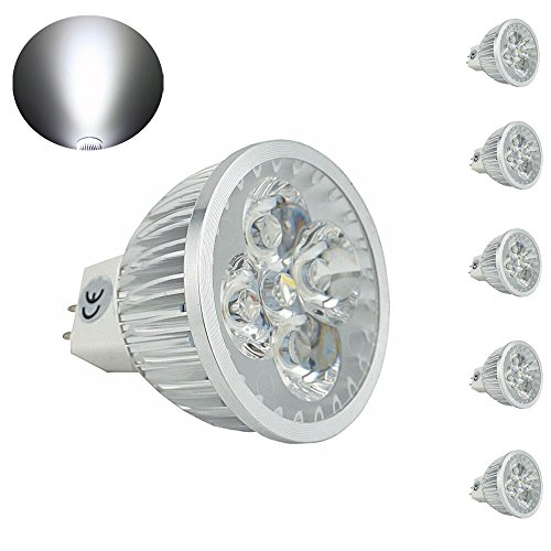 Bonlux 5-pack MR16 Gu5.3 LED Bulb 120 Volts Daylight 6000k G5.3 Bi-pin Base 35W Halogen Bulbs Equivalent MR16 Spotlight for Landscape Accent Recessed Track Lighting - Recessed Track