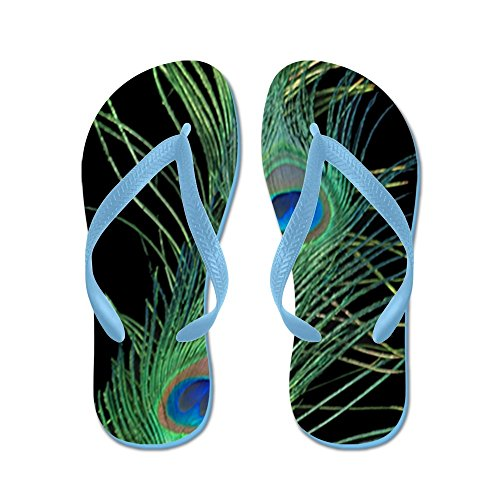 Cafepress 3x5 Vloerkleed Zwart En Groen Pauw - Flip Flops, Grappige Leren Sandalen, Strand Sandalen Caribbean Blue
