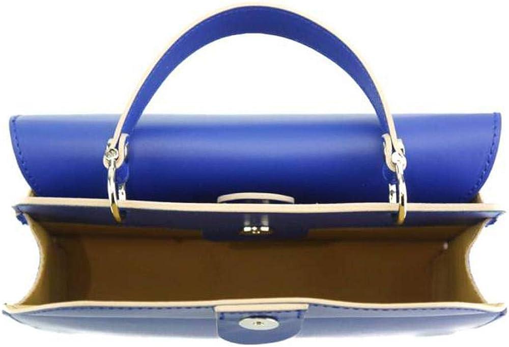 FLORENCE LEATHER MARKET Borsa donna a mano con tracolla in pelle 25x11x16 cm - Zama - Made in Italy Blu Elettrico