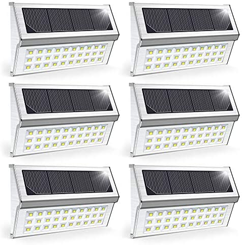 OSORD Upgrade Solar Deck Lights Metal Bright 30 LED Outdoor Solar Stair Lights Wall Light Waterproof Solar Powered Step Lights Auto On Off for Garden Yard Fence Patio Pathway, Pack for 6 Cool White