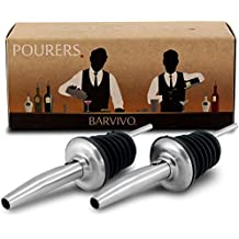 Professional Liquor Pourers Set of 2 by Barvivo - Classic Free Flow Bartender Bottle Pourer w/ Tapered Spout, Fits Alcohol Bottles up to 1l. - Best for Pouring Wine, Spirits, Syrup and Olive Oil.