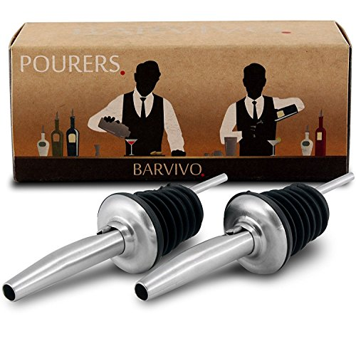 Professional Liquor Pourers Set of 2 by Barvivo - Classic Free Flow Bartender Bottle Pourer w/Tapered Spout, Fits Alcohol Bottles up to 1l. - Best for Pouring Wine, Spirits, Syrup - Vodka Prices Olives Three