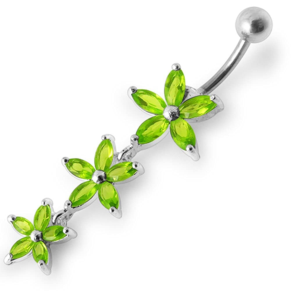 AtoZ Piercing Fancy Triple Flower Dangling 925 Sterling Silver with Stainless Steel Belly Button Rings