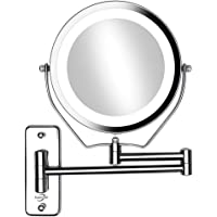 "Supersail 7"" 1X &10X Magnifying Double Sided Vanity Makeup Mirror with Light, Wall Mount, Round, Chrome"