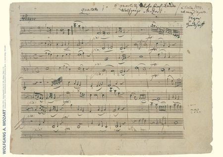 Mozart Music Manuscript Poster: String Quartet in F Major K. 168 ()