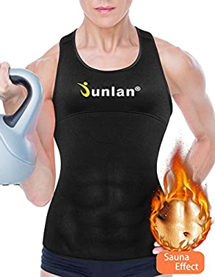 Junlan Women Workout Tank Top Exercise Shirt Neoprene Sauna Fitness Sport Clothes Athletic Yoga Running Training Vest
