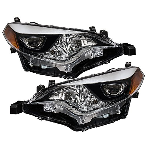 AJP Distributors For Toyota Corolla E170 Front Bumper LED Chip Projector Headlight Head Lamp Upgrade Assembly Pair Left Right 2014 2015 2016 14 15 16 (Chrome Housing Clear Lens Amber Reflector) (Toyota Chrome Headlight Corolla)
