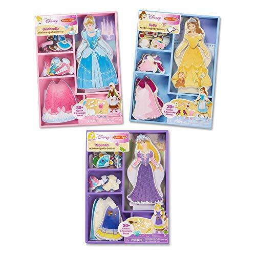 Melissa & Doug Disney Cinderella, Belle & Rapunzel Magnetic Dress Up Bundle