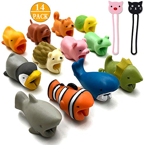 CKANDAY 12 Pack Cute Animal Bite Cable Protector, with 2 Pcs Cartoon Earphone Earbud Cable Tie Keeper Management,Charging Cord Chompers Saver Organizer Winder Phone Accessory