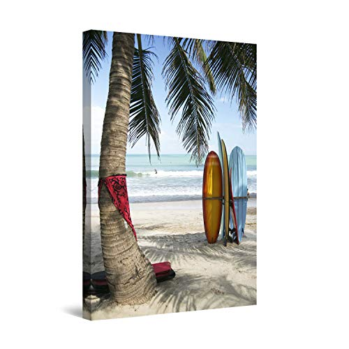 (STARTONIGHT Canvas Wall Art - Surf Bali, Indonesia, Beach Framed 32 x 48 Inches)