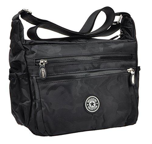 Crossbody Handbag for Women Adjustable Canvas Casual Waterproof Shoulder Travel Bag Black Camouflage