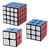 D-FantiX Yj Speed Cube Bundle Set of Guanpo 2x2 Cube Guanlong 3x3 Cube Guansu 4x4 Cube Black