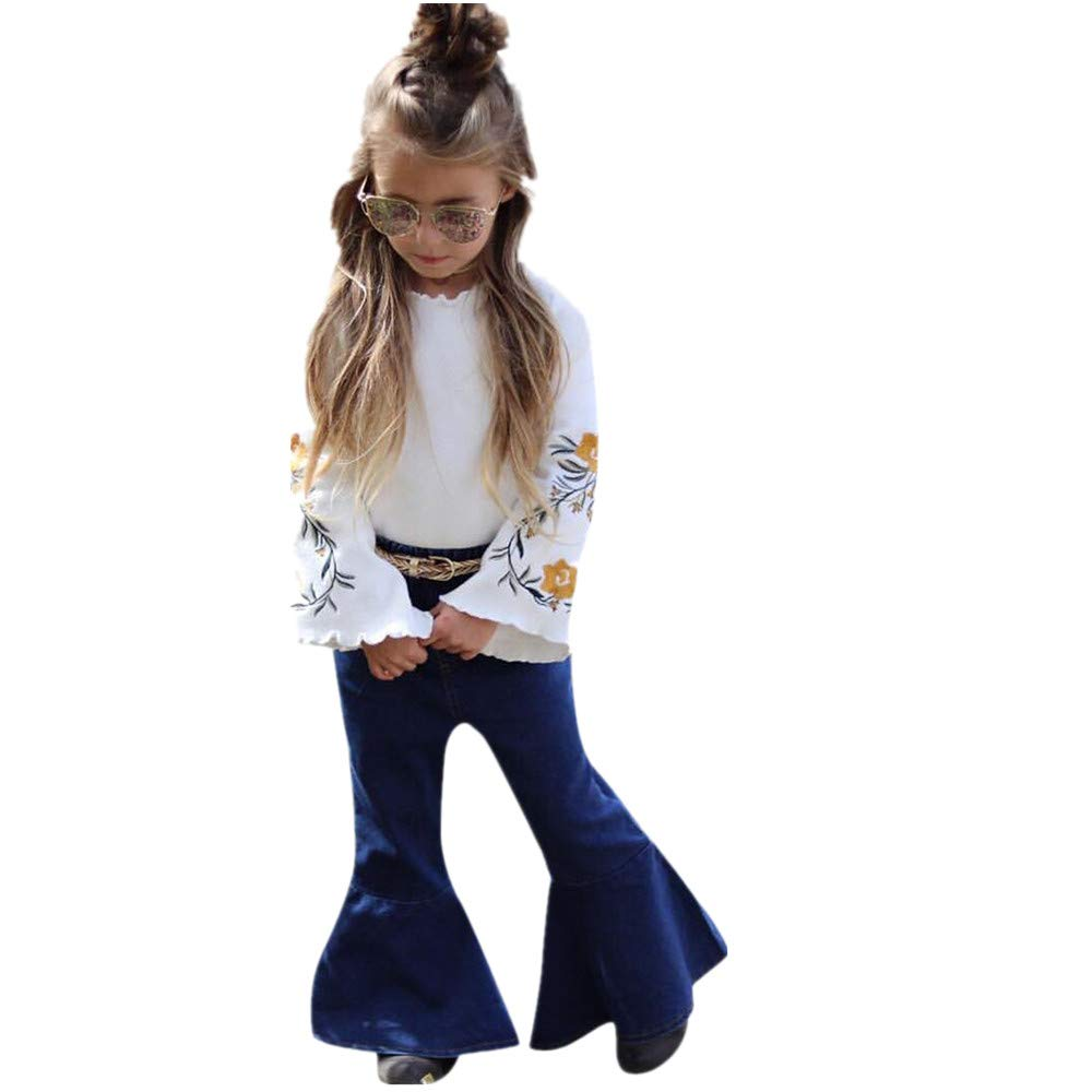 1-6Years,Zimuuy 2pcs Toddler Kids Baby Girl Floral Printed T Shirt Tops+Denim Flared Pants Set Clothes Outfits