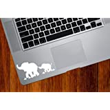 Elephant Mom and Baby - DESIGN 1 - Trackpad / Keyboard - Vinyl Decal (White)