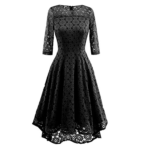Price comparison product image Leedford Women's Sexy Lace Evening Maxi Party Irregular Dress Formal Wedding Evening Cocktail Mermaid Long Gown Dress (Black,  M)