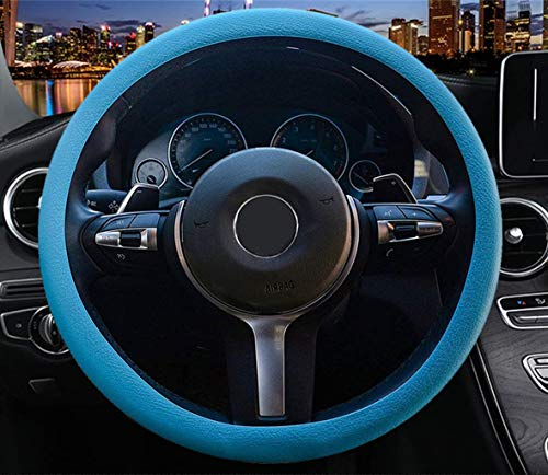OHF Steering Wheel Cover Auto Car Silicone Great Grip Anti-Slip Steering Cover Diameter 36-38cm/14-15inch(Sky Blue)