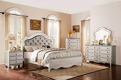 Terzo 5 Piece Grey Champagne Eastern King Bedroom Set