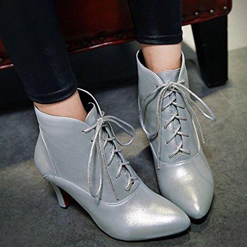 Zehen Herbst Ankle Stiletto Up Winter Lace Spitz High AIYOUMEI Heels Damen Schnürstiefeletten Boots Stiefeletten Silber PwtFAcEq