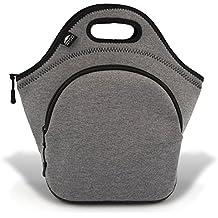 "Insulated Extra Large Neoprene Lunch Bag For Women, Men & Kids   Pocket   5mm Insulation   13.5""   Reusable   Washable   Soft Designer Cotton 5mm Neoprene   Best YKK Zipper In The World   Grey"