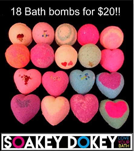 18 Bath Bombs Gift Set   Round And Heart Shaped Bath Bombs   Assorted Scents Bath Bomb Fizzy Fizzies Handmade