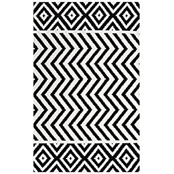 Modway Ailani Geometric Moroccan Tribal 8x10 Area Rug With Diamond And Chevron Design In Black And White