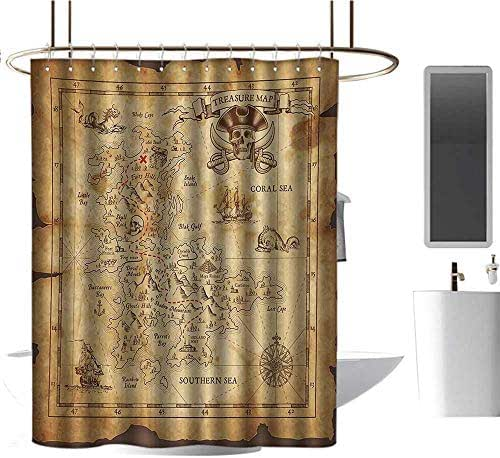 Qenuan Quality Fabric Shower Curtain Island Map,Super Detailed Treasure Map Grungy Rustic Pirates Gold Secret Sea History Theme,Beige Brown,Clear Metal Thick Bathroom Shower Curtains 54