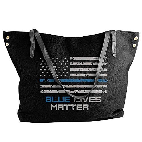 Handbag Thin Bag American Blue Flag Line Lives Black Large Shoulder Canvas Tote Tote Women's Messenger Matter Hobo qBwAxA