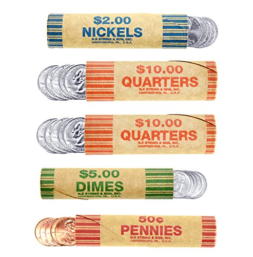 250 Coin Wrappers Made In USA - Preformed Paper Tubes - Assorted Sizes - 100 Quarters, 50 Pennies, 50 Nickels and 50 Dimes